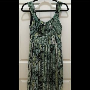Dress Barn Green Abstract Floral & Moon Dress (4)